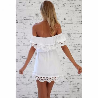 lace white Dress stylish sexy slash..