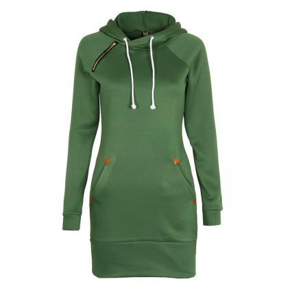Long Sleeve Mini Dress Casual Sweat..