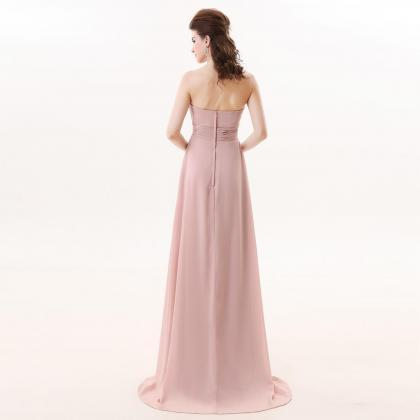 Pink Chiffon Bridesmaid Dress,Floor..