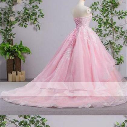Sweetheart Pink A-line Lace Cheap E..