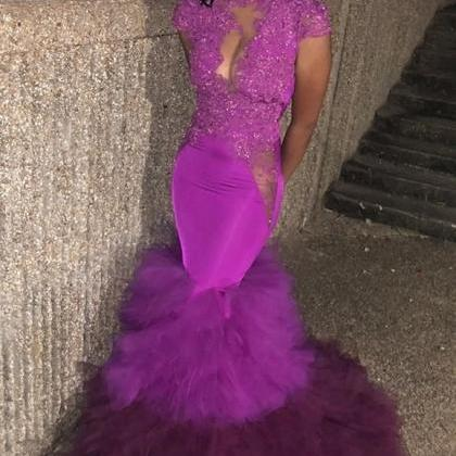 Purple African Cap Sleeves Prom Dre..