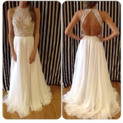 Custom Made A Line Backless Prom Dr..