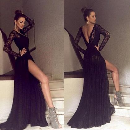 Black Long Sleeves Prom Dress, Lace..