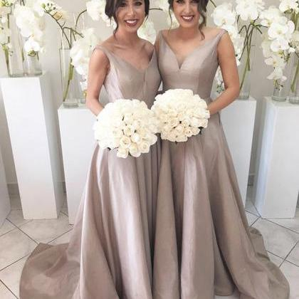 Simple V-neck Cheap Bridesmaid Gown..
