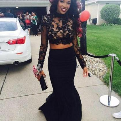 Hot Sale Black 2 Piece Prom Dresses..
