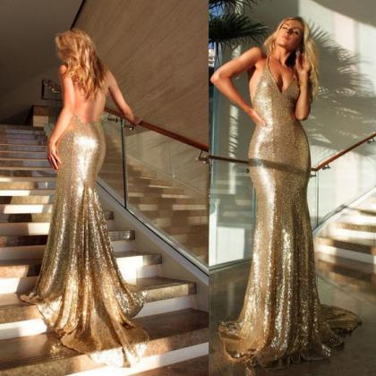 Backless Prom Dress,Mermaid Prom Dr..