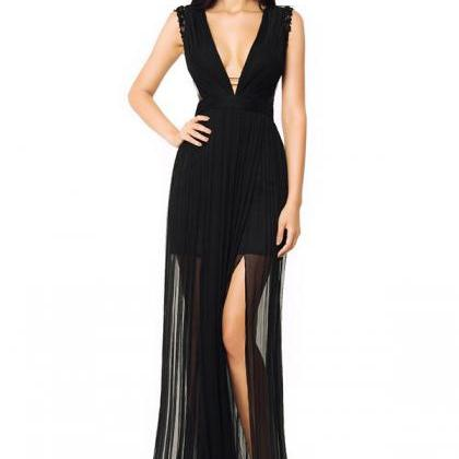 Black Chiffon Sexy Floor-Length Eve..