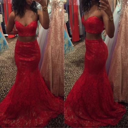 Red Two Pieces Mermaid Lace Prom Dr..