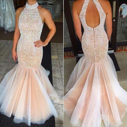 Real Sexy Prom Dresses,Mermaid Bead..