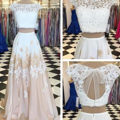 A-line Prom Dress,Two Piece Prom Dr..