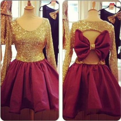 Sequins Prom Dress,Bowknot Prom Dre..