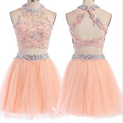 Two Pieces Tulle Short Prom Dresses..