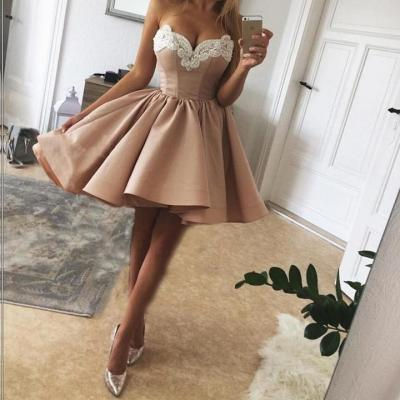 Pearls Embroidery Sweetheart Nude Pink Satin Homecoming Dresses 2018,Prom Dresses Short