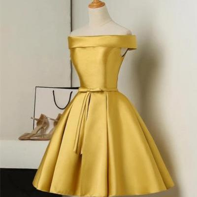 Gold Short Satin Off Shoulder Homecoming Dress, Simple Knee Length Teen Formal Dress