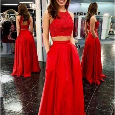 Two Piece Crew Open Back Floor-Length Red Prom Dress with Beading