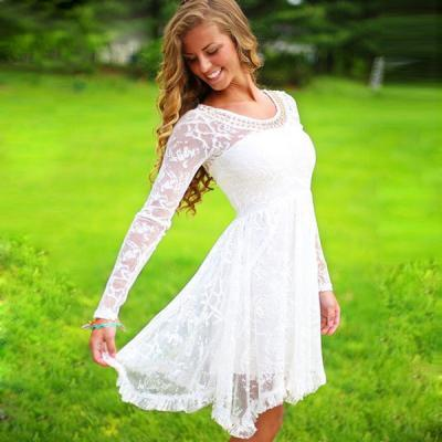 Graduation Dress, Lace Ball Gown Long Sleeves Prom Graduation Dresses, Short White O-neck Pearls Beaded 8th Grade Graduation Homecoming Lace Dresses