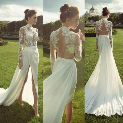 HIgh Neck Long Sleeves See Through Bridal Gowns Applique Side Split Sexy Long White Wedding Dresses
