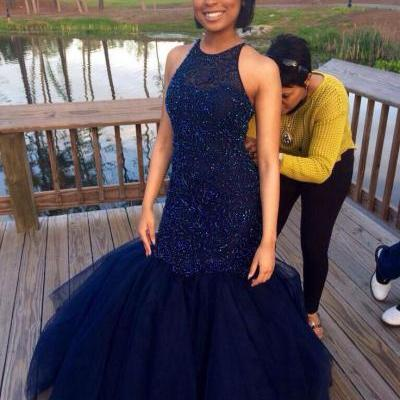 Navy Blue Prom Dresses,Sparkle Evening Dress,Beaded Prom Dresses,Navy Blue Prom Dresses,Glitter Prom Gown,Navy Blue Prom Dress,Mermaid Formal Gowns for Teens