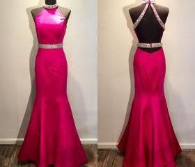 Pink Backless Prom D..