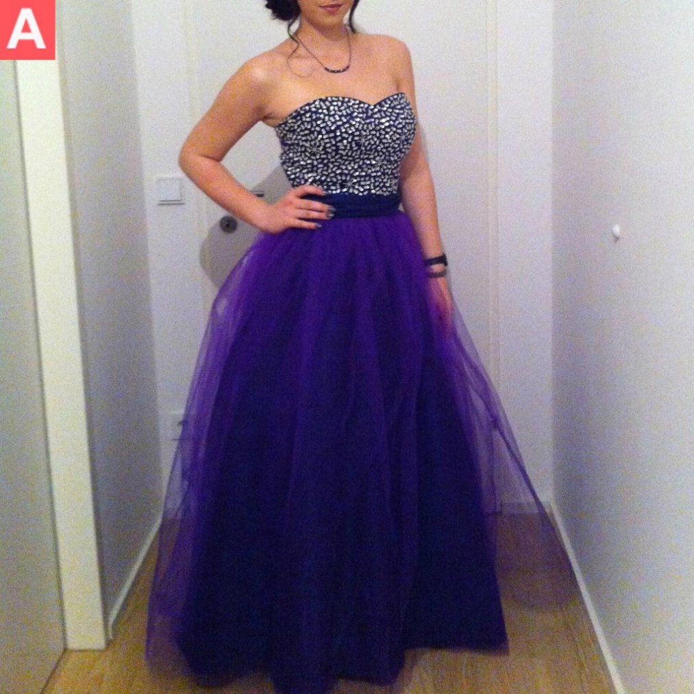 Beading Sweetheart Ball Gown Tulle Purple Prom Dresses 2017