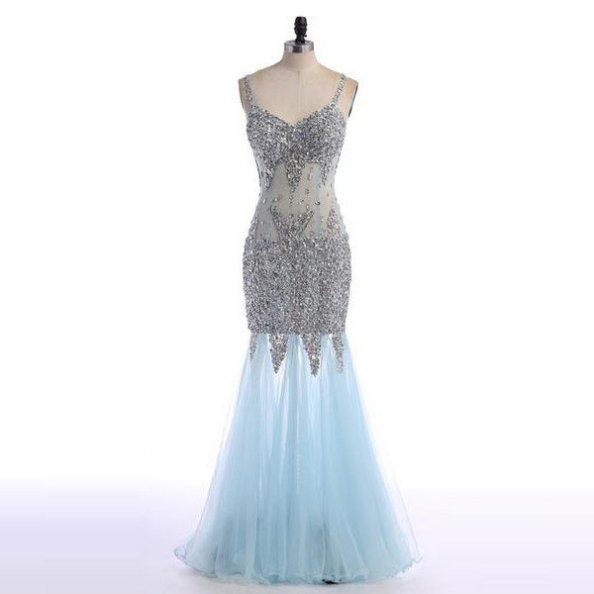 Blue Cheap Prom Dresses 2017 Trumpet/Mermaid Spaghetti Straps Beading Backless