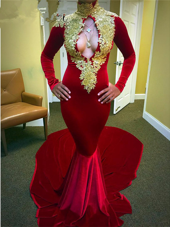Long Sleeves V Neck Red Velvet Prom Dress with Gold Appliques