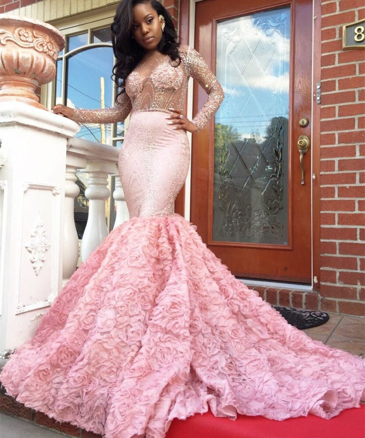 Long Sleeves Beaded Mermaid Prom Dress with Petal Skirt