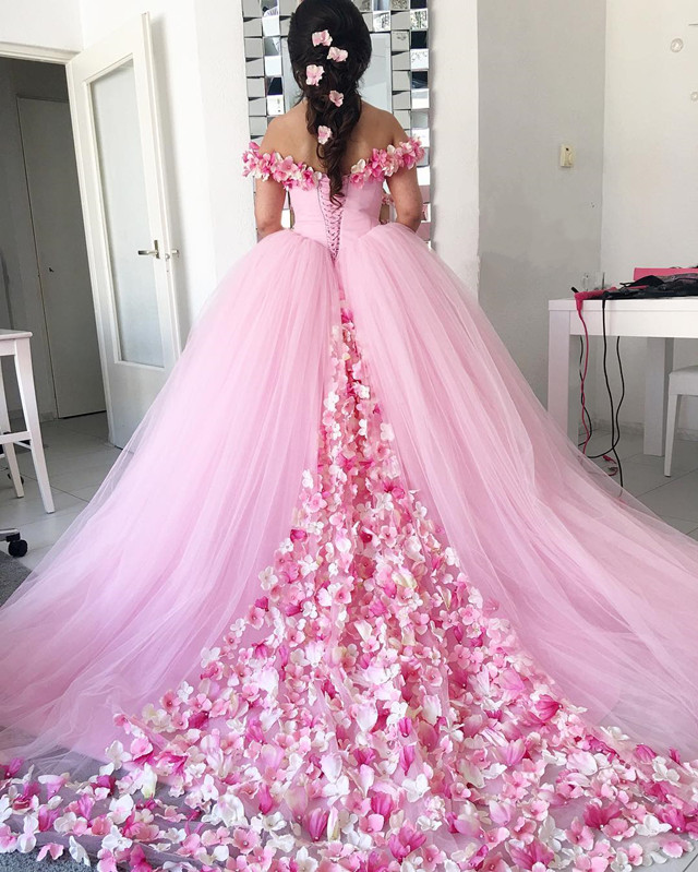 pink wedding dress,floral flower wedding dress,ball gowns wedding dress,wedding gowns 2017