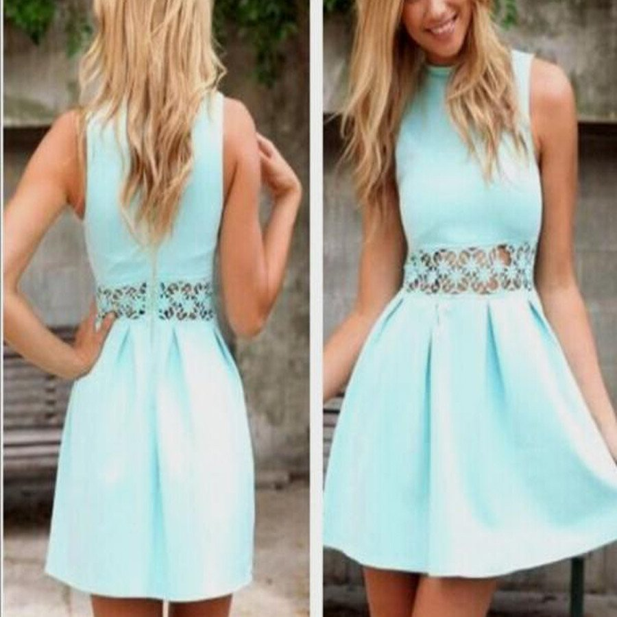 Round Neck Simple Design Check Short Prom Dress, Homecoming Dresses,