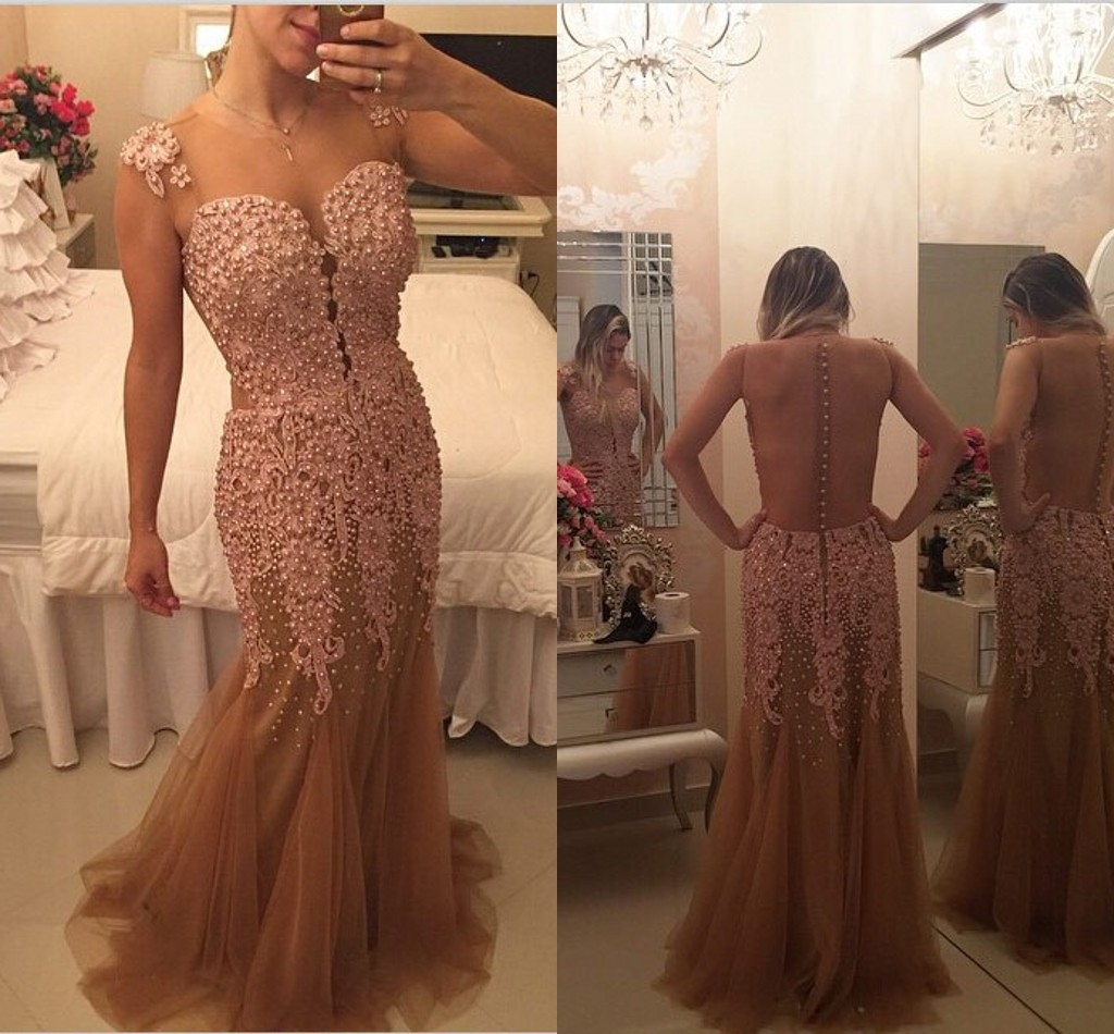 Backless Prom Dresses,Vintage Prom Gown,Mermaid Evening Gowns,Lace Party Dress,Open Backs Evening Dress,2016 Prom Dress
