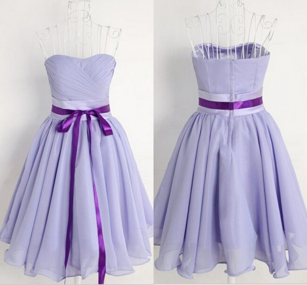 Short Chiffon Bridesmaid Dresses 2017 A-line Sweetheart Backless Pleat Sashes Knee-Length Party Dresses,Prom Gowns,Homecoming Dress