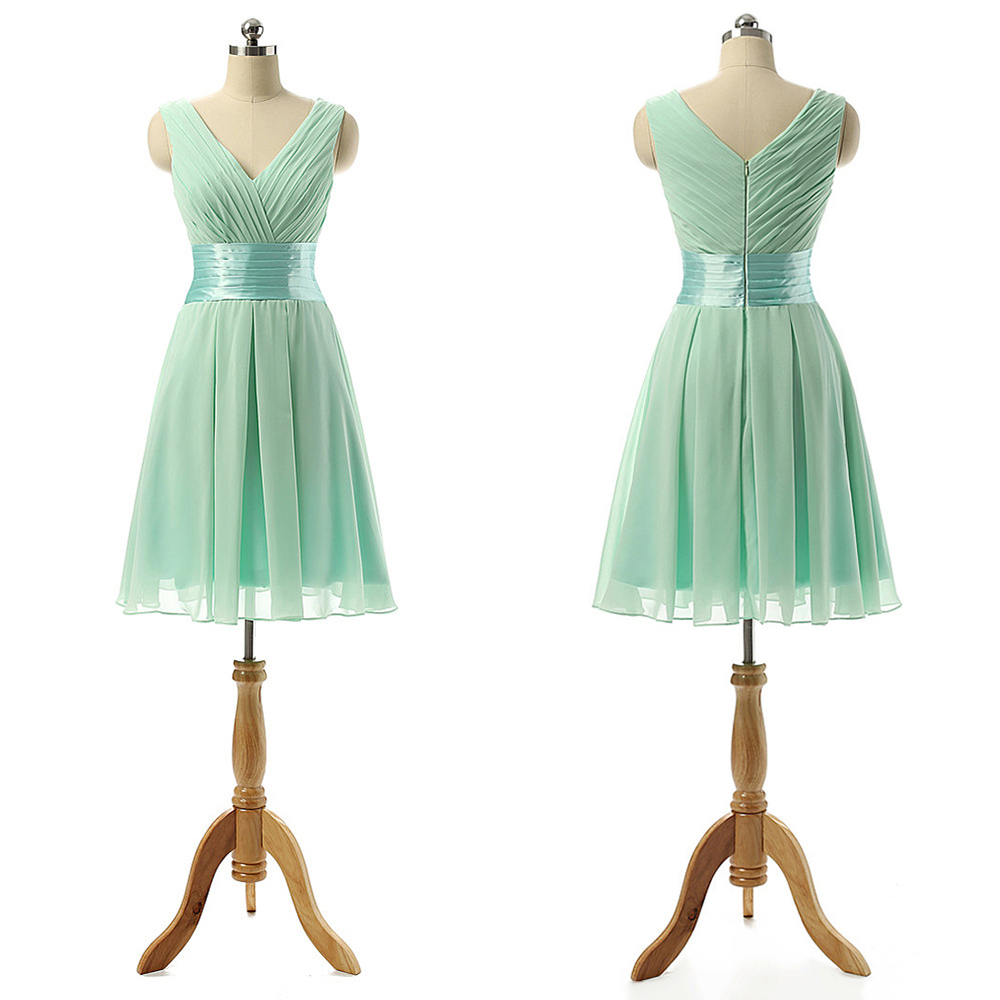 37bc8ed06b47 Vintage Bridesmaid Dress with a Ribbon, Light Green V-neck Bridesmaid  Dresses with Soft