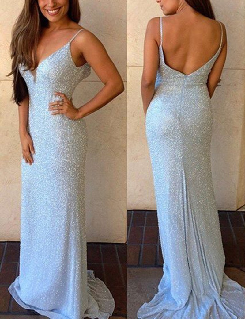 9dcd0cb2909 Sexy Spaghetti Straps Sweep Train Silver Backless Sequined Prom Dress