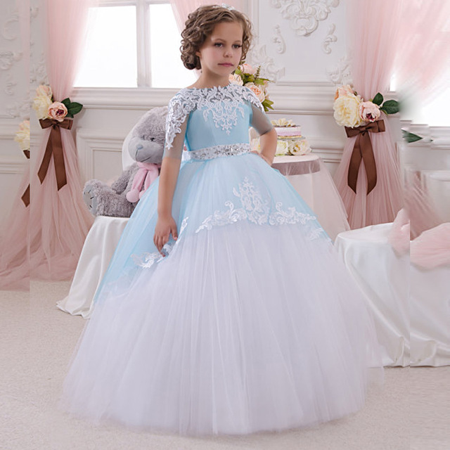 Ball Gown Blue And White Flower Girl Dresses Child Princess Brithday ...