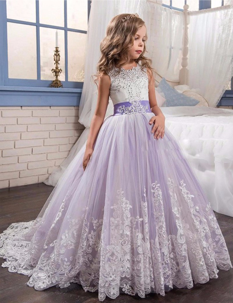 4620c024dc2 Beading Ball Gown Lace Flower Girl Dresses Fashion Purple and Beige White  Appliques Girls Communion Dress Kids Christmas Dress.Flower Girl Dresses.