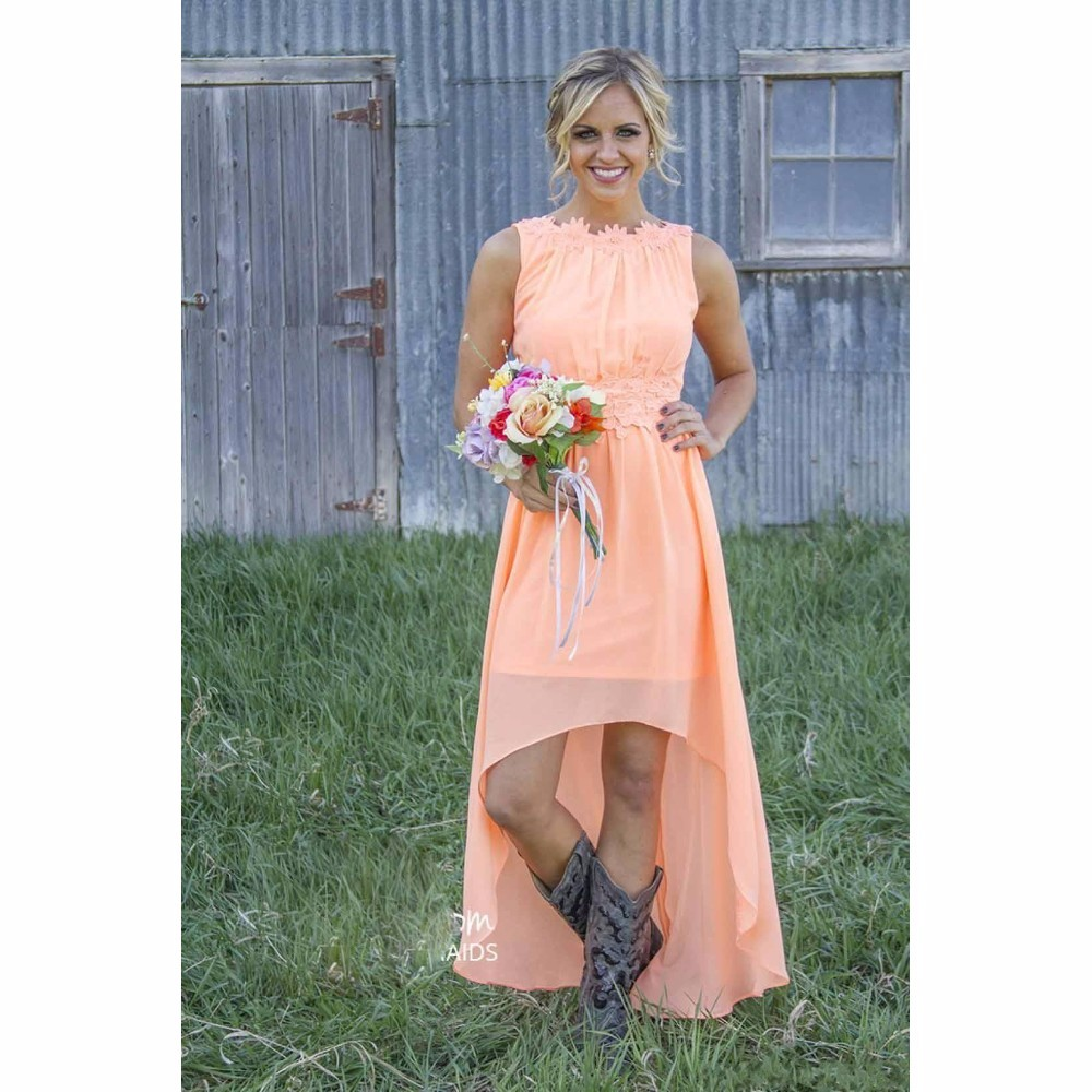 High Low Rustic Bridesmaid Dresses Sleeveless Neck Short Front Long Back Wedding Party Dress Peach Color