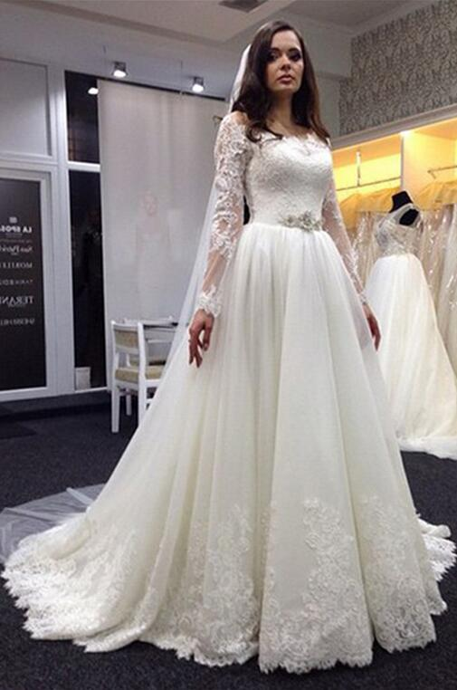 Wedding Dress, Lace Wedding Dress, Plus Size Wedding Dresses, Long ...