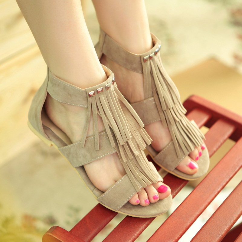 Tassel Rivet Leisure Classic Pure Color Flat Sandals
