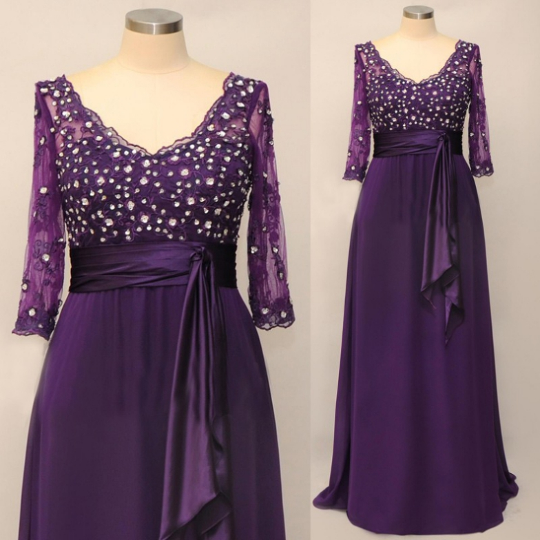 Mother Of The Bride Dresses Cheap A-line 1/2 sleeves V-Neck Floor-Length Beading Zipper Dresses