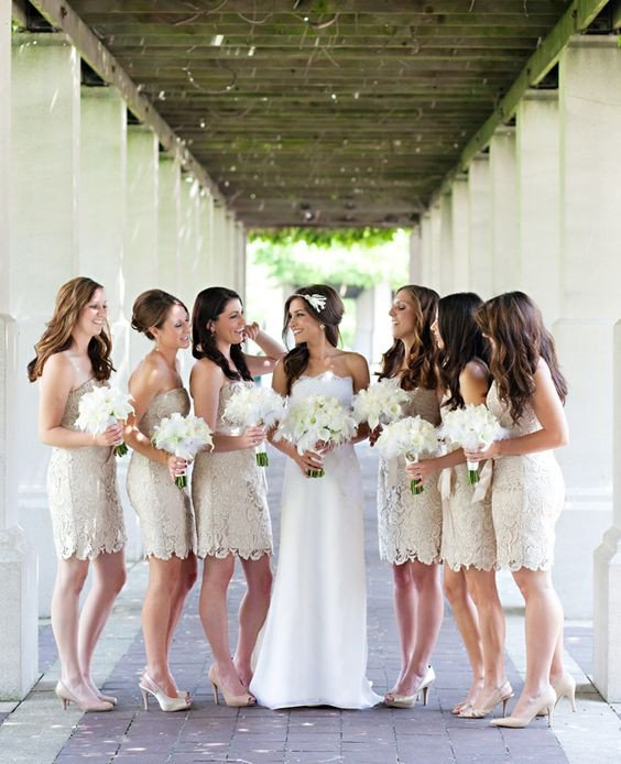 Customisable White Lace Knee Length Strapless Sheath Bridesmaid Dresses