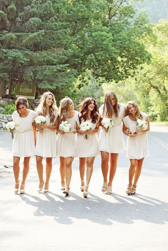 white bridesmaid dress,short bridesmaid dress,Cheap bridesmaid dress,chiffon bridesmaid dress