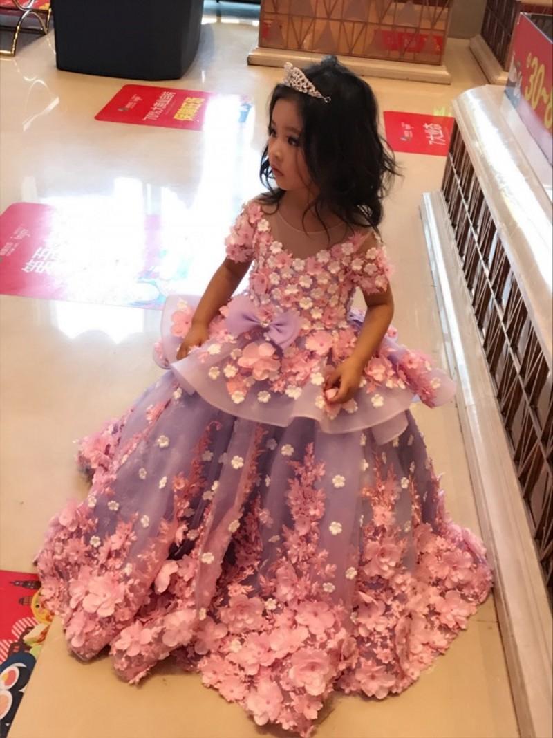 Flower Girl Dressshor Sleeves Flower Girl Dress Light Pink