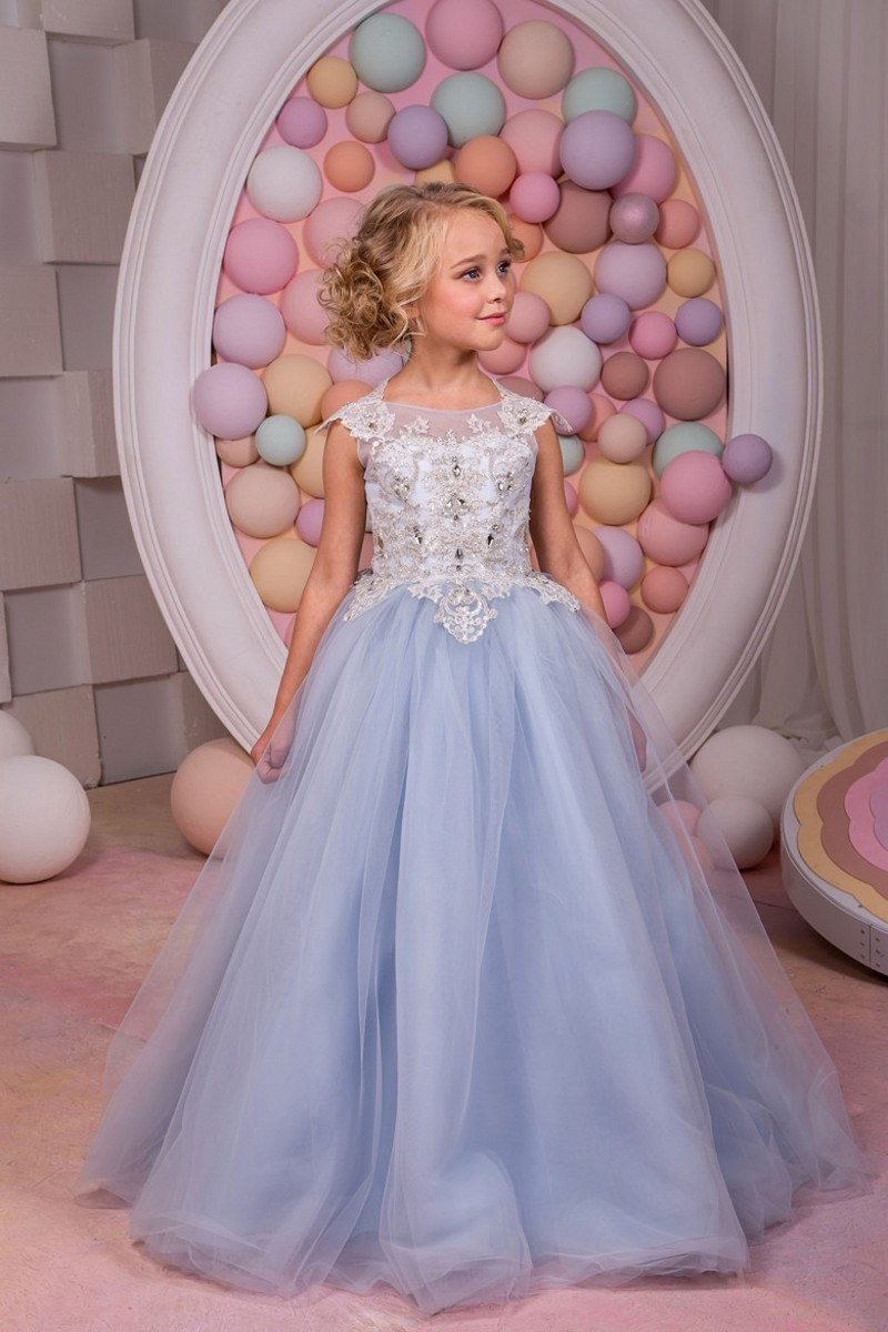 Sleeveless Appliques Top Tulle Pretty Flower Girl Dresses With