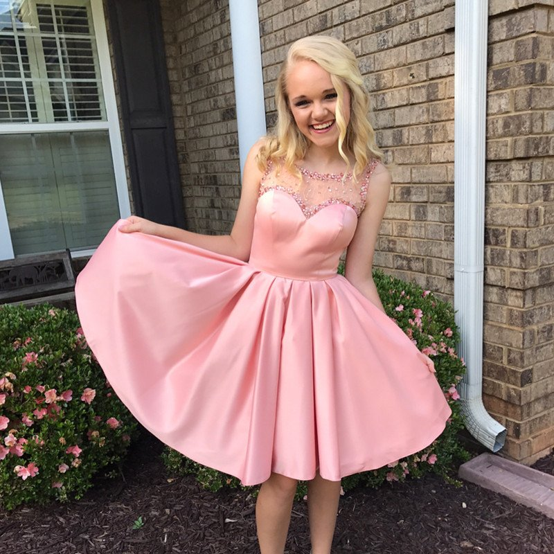 Cheap homecoming dresses 2017,Lovely Pink A Line Satin Homecoming Dresses 2017 Backless Stunning Crystals Beads Junior Party Dress Knee Length 8th Grade Graduation Prom Gowns