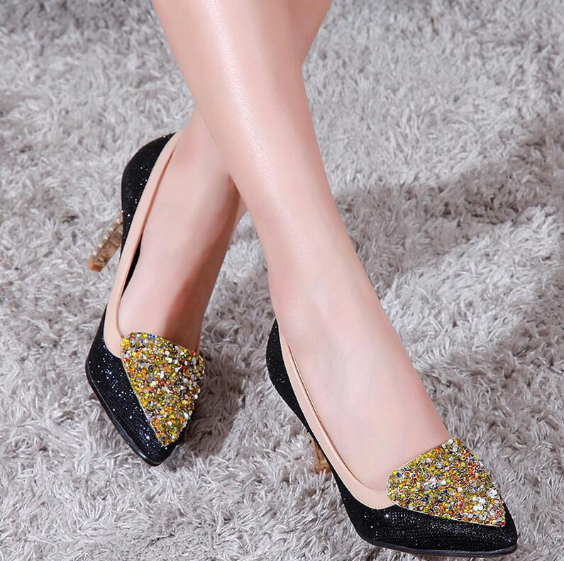 Pumps Heels Women Sexy Sequins Floral Thin Heel Pointed Toe Kitten Heels
