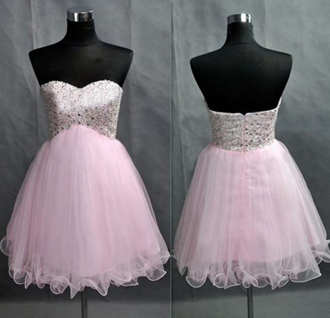 Cheap homecoming dresses 2017,Sweetheart Neck Short Tulle Homecoming Dresses Crystals beaded Party Dresses Lovely Mini party Dresses