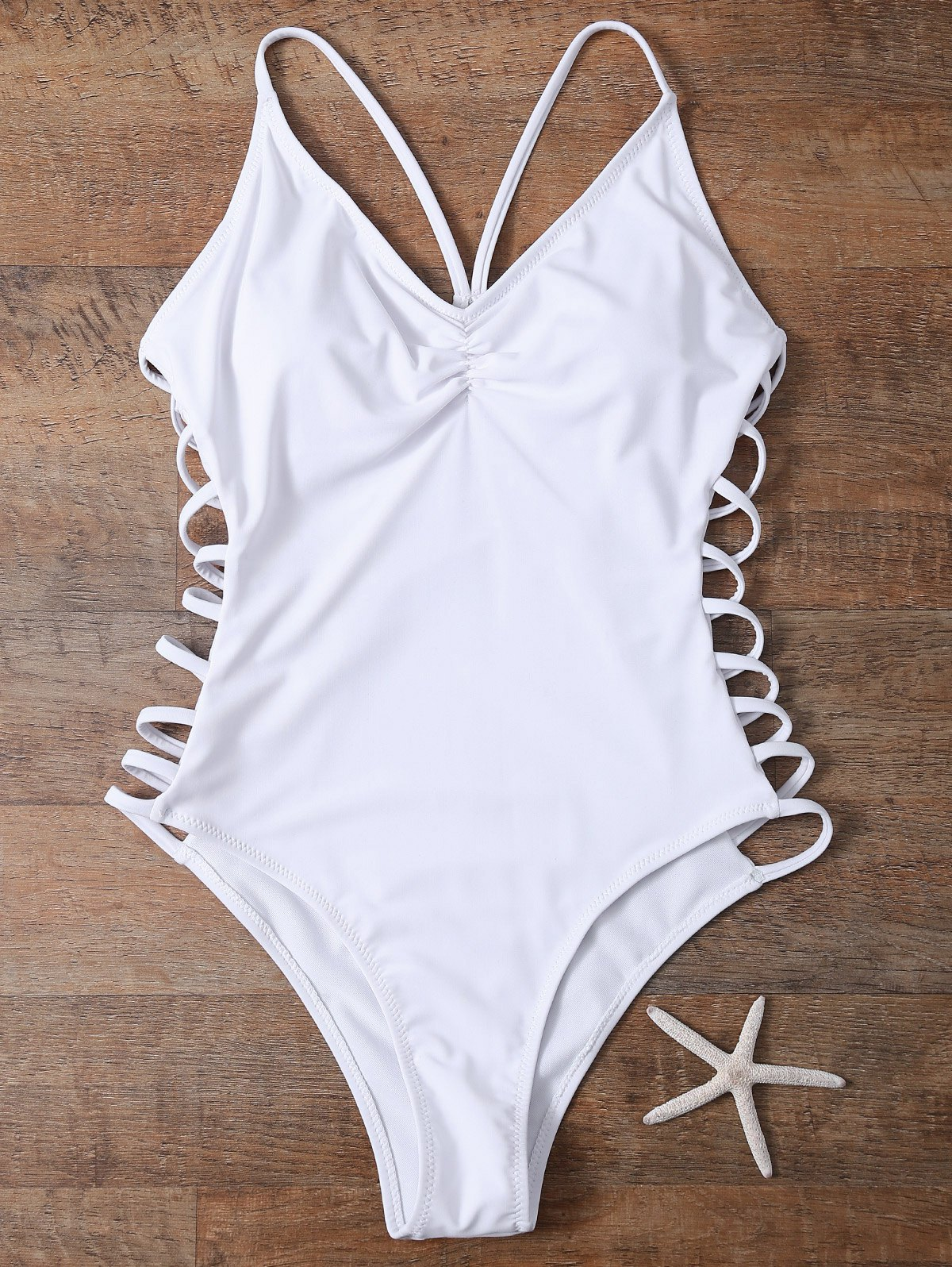 Cutout High Cut One-Piece Swimwear - White S