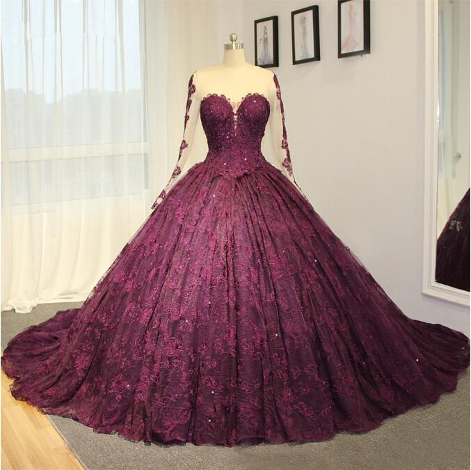 Wedding Dresses 2017 New High End Dress Purple Lace Long Train Bridal Sweetheart Sleeves