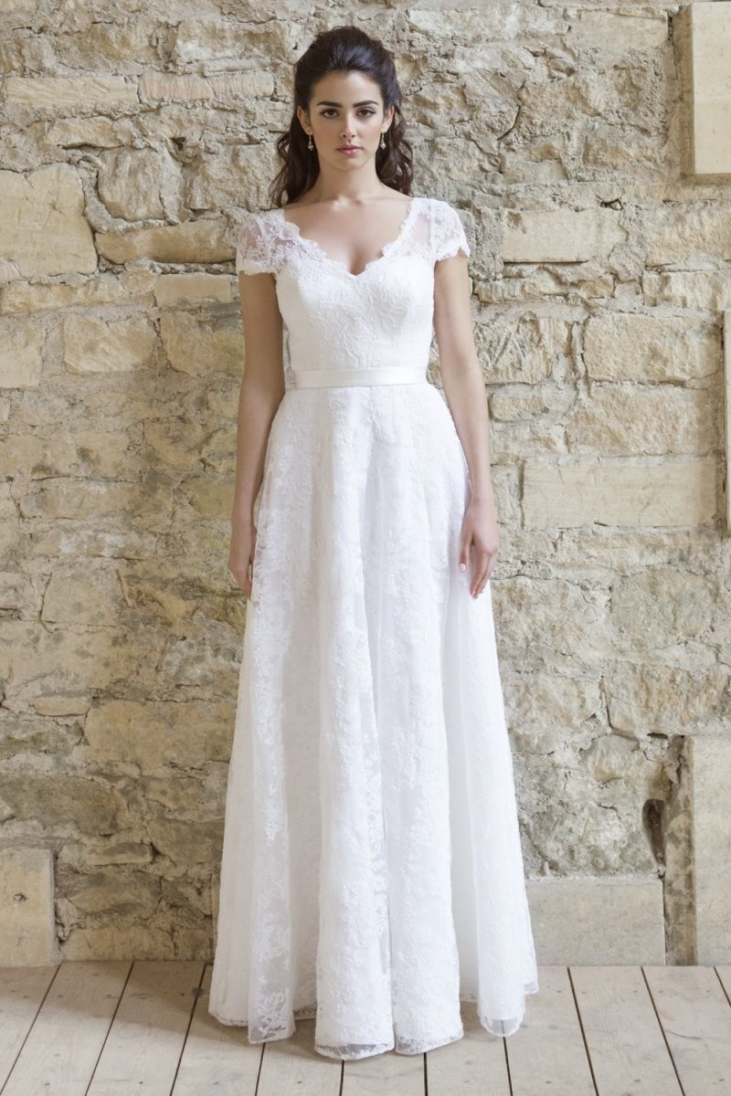2017 Simple A Line White / Ivory Wedding Dresses Short Sleeve V ...