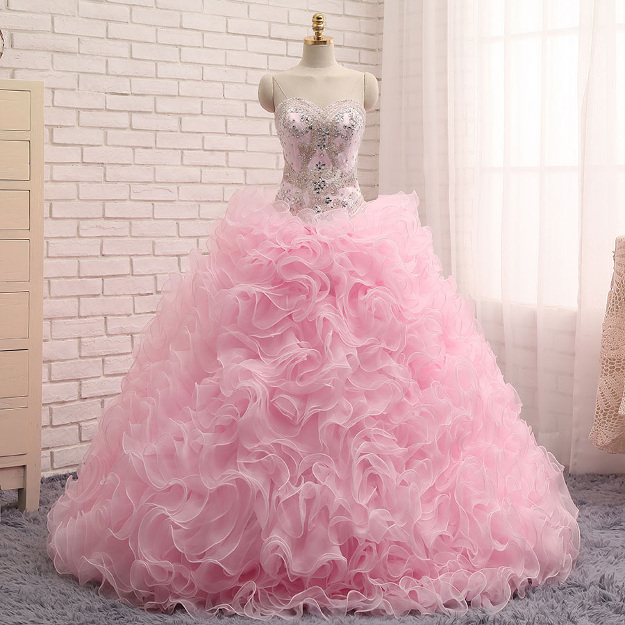 Real Photo Quinceanera Dresses Ball Gown Sweetheart Organza Crystals Beaded Ruffles Pink Detachable Sweet 16 Pageant Dresses Quinceanera Dresses